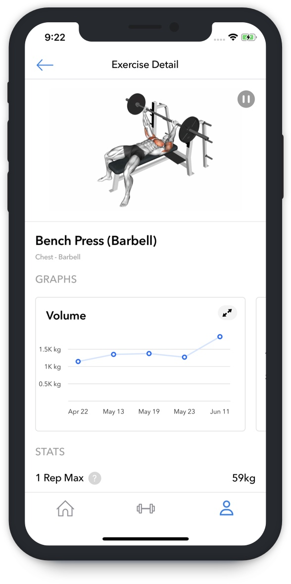 Hevy app graph bench press video one rep max calculator