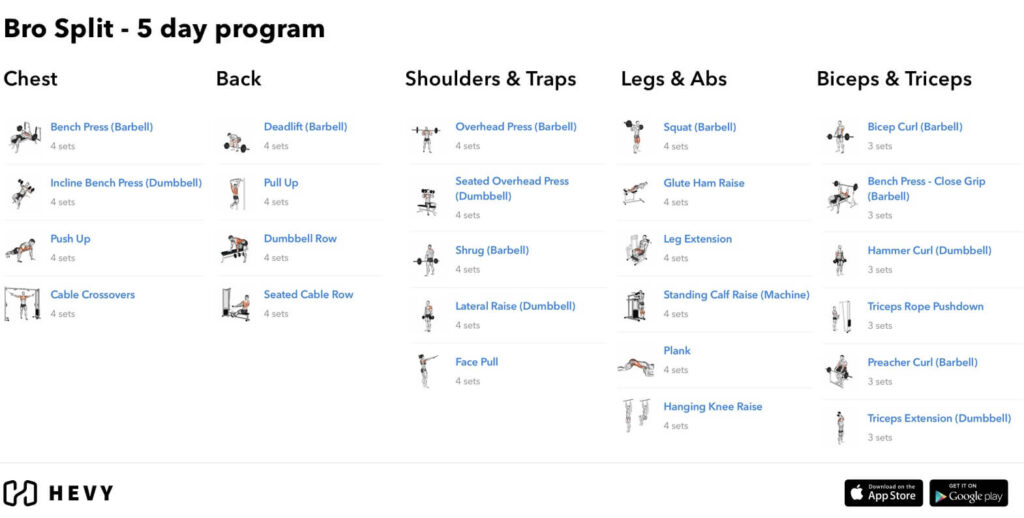 bro split 5 day routine workout program hevy