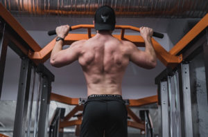 Man Pull up exercise back view