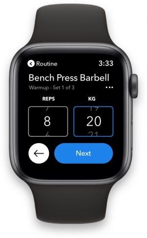 Hevy apple watch app sets reps bench press routine rest timer